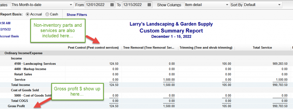 Final version of sales by item report in QuickBooks via custom report