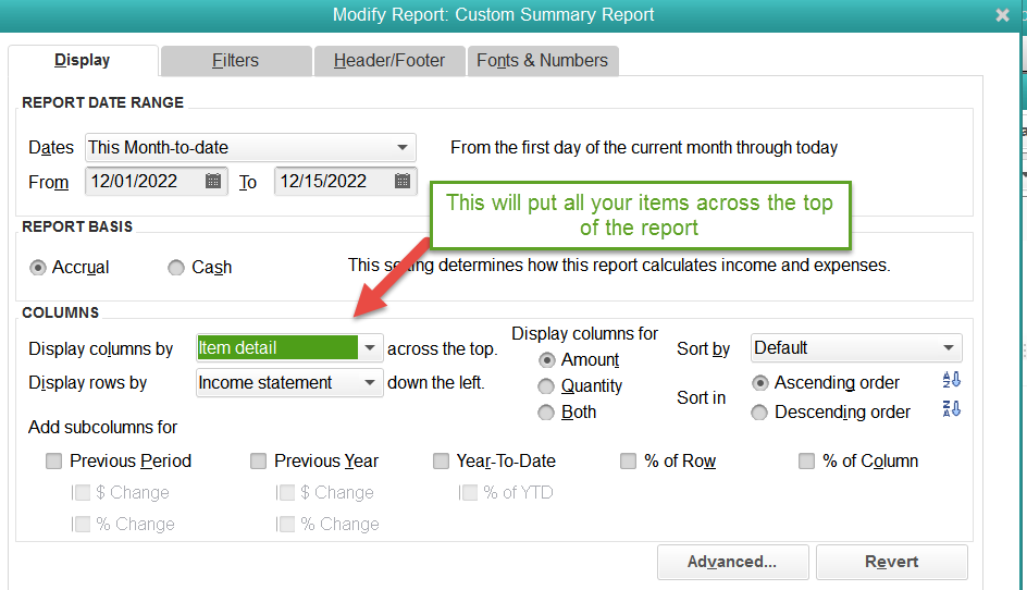 Custom summary report to show sales by item in QuickBooks